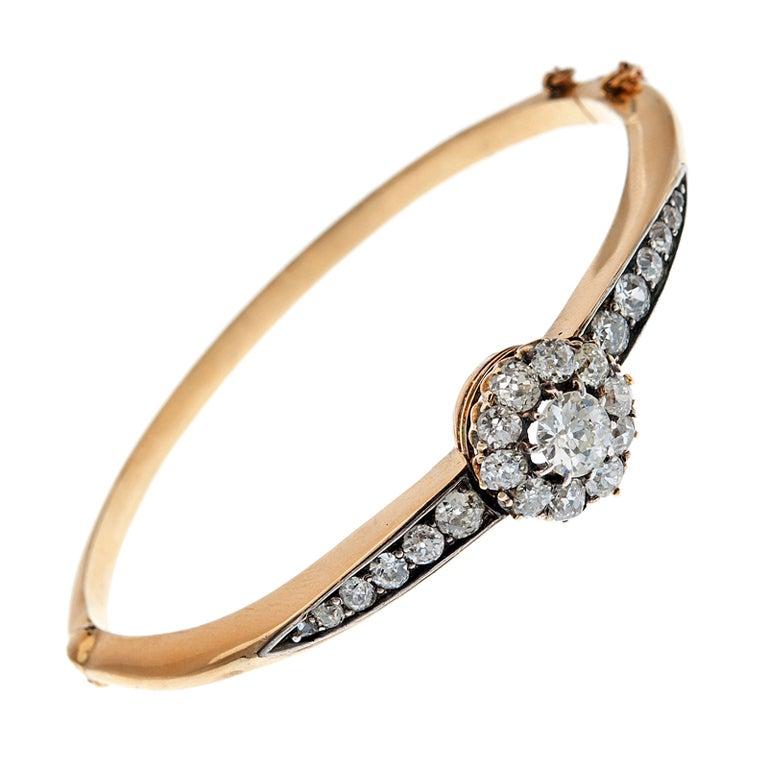 Antique Diamond Cluster Bangle Bracelet At 1stdibs