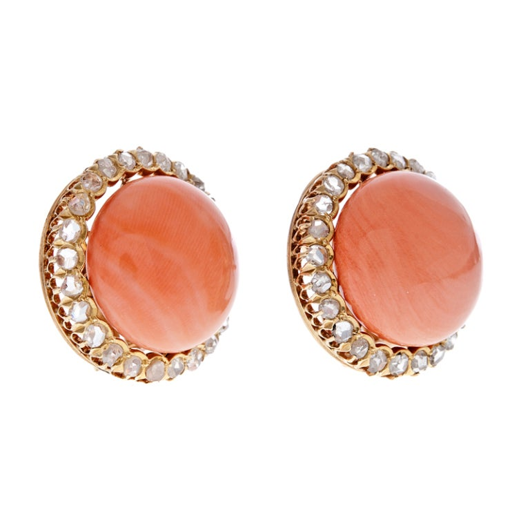 Coral Rose Cut Diamond Gold Clip Earrings 2