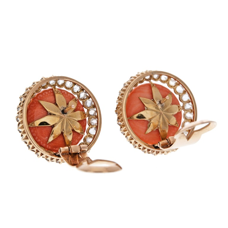 Coral Rose Cut Diamond Gold Clip Earrings 3