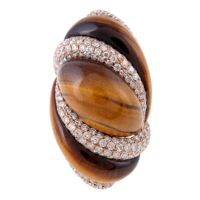 Unusual Tiger S Eye Diamond Rose Gold Ring At 1stdibs