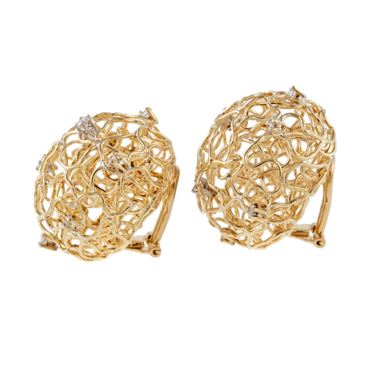 Diamond Gold Birds Nest Wire Clip-On Earrings 2
