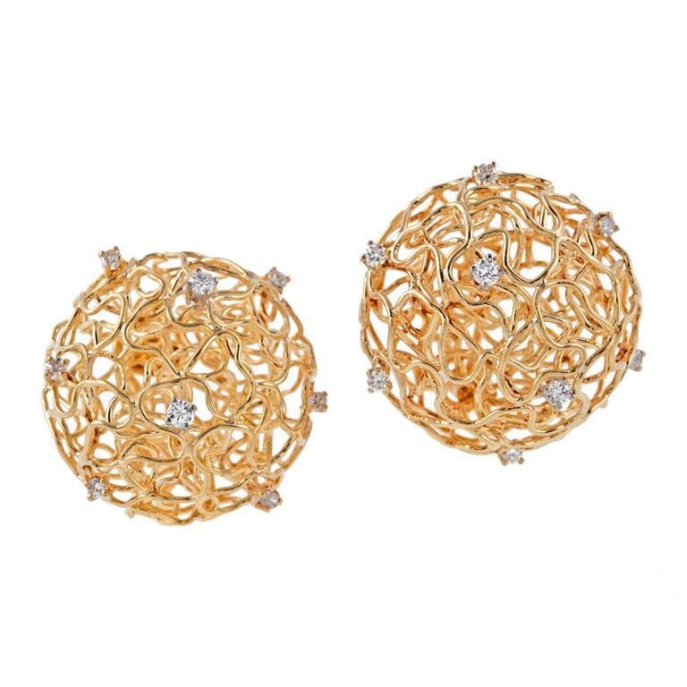 Diamond Gold Birds Nest Wire Clip-On Earrings For Sale