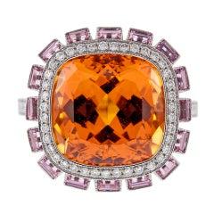 Incredible Spessartite Garnet Pink Sapphire Diamond Ring