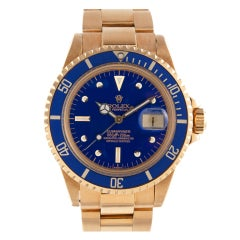 "ROLEX 1970s Yellow Gold Submariner Blue ""Nipple Dial"" & Bezel"