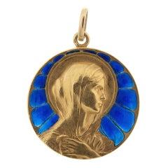 French Signed Edwardian Mary Magdalene Plique a Jour Pendant