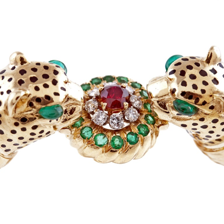 Emerald Ruby Diamond & Enamel Leopard Bangle Bracelet 2