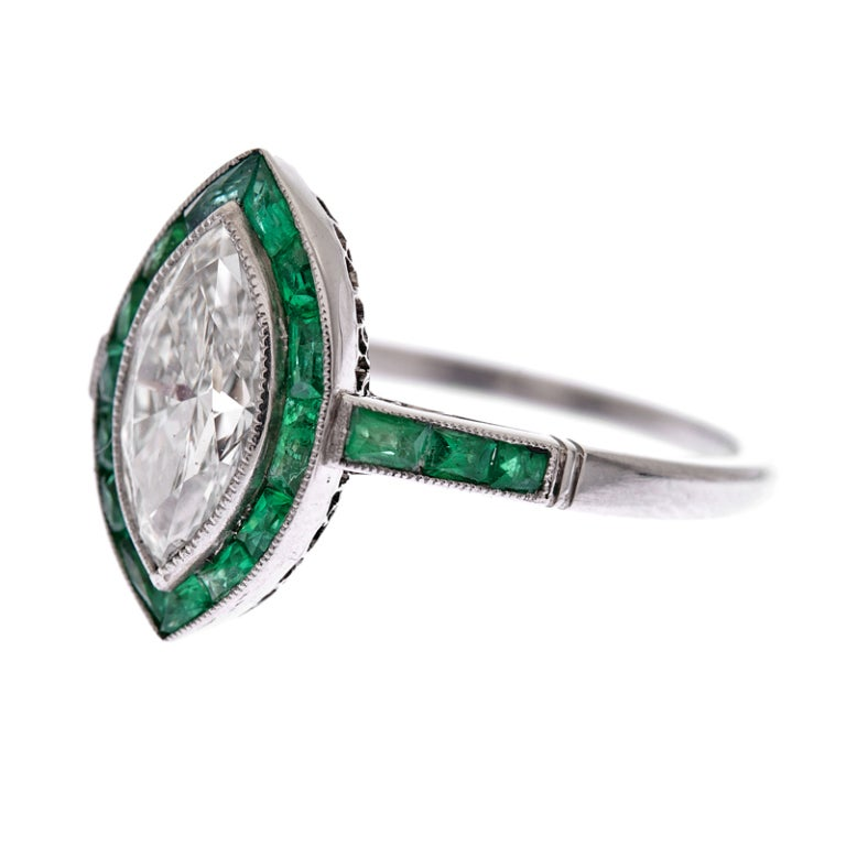 Marquise Diamond & Channel-Set Emerald Platinum Ring image 2