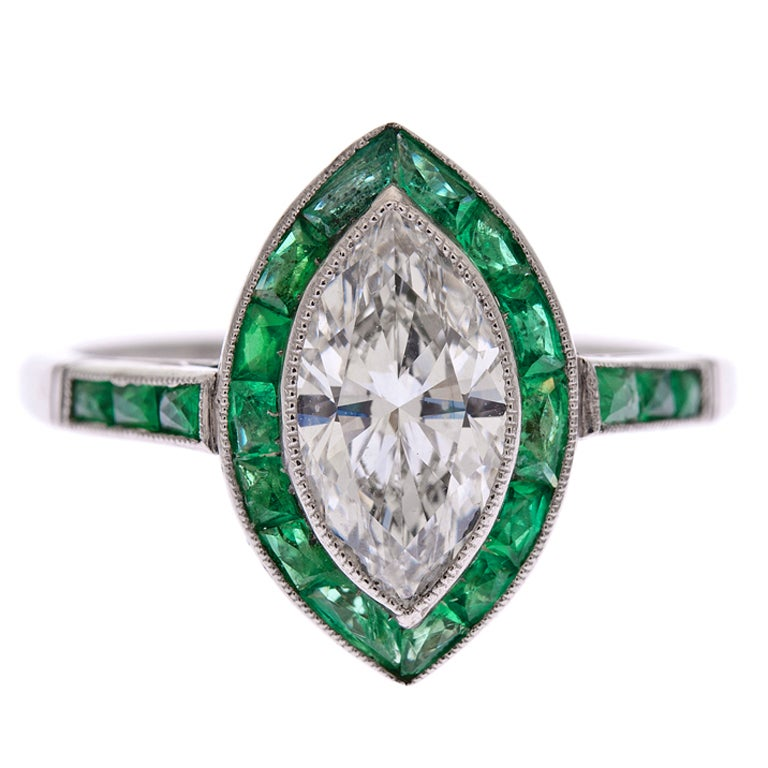 Marquise Diamond & Channel-Set Emerald Platinum Ring
