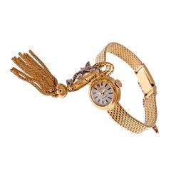 ROLEX Lady's Closed-Cover Diamond Yellow Gold Tassel Watch