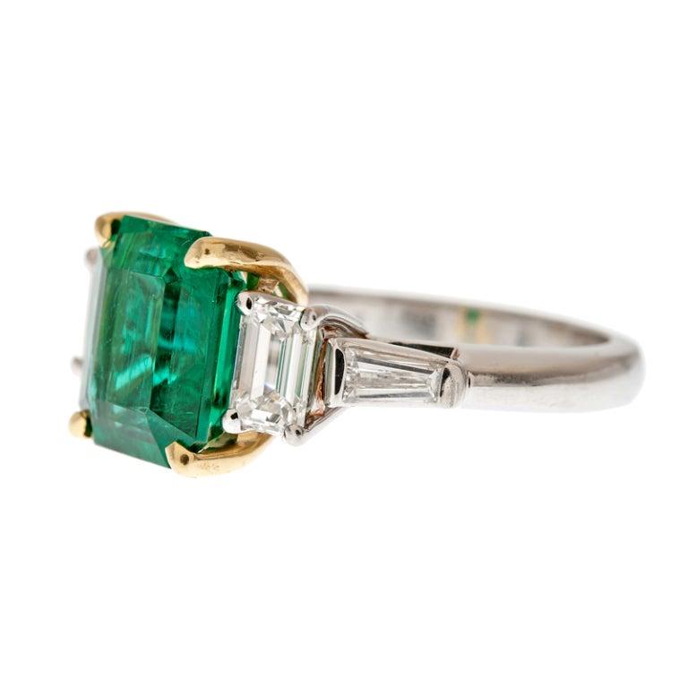 DAVID WEBB Emerald and Diamond Platinum Ring 2