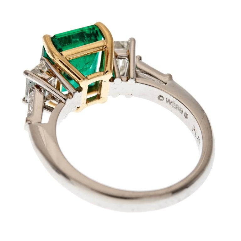 DAVID WEBB Emerald and Diamond Platinum Ring 4