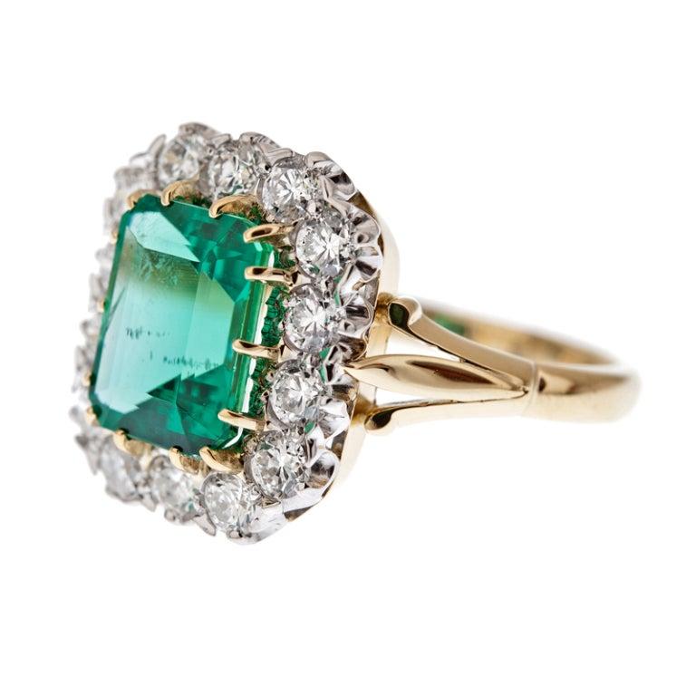 """Fine Emerald & Diamond """"Cluster"""" Ring 2"""