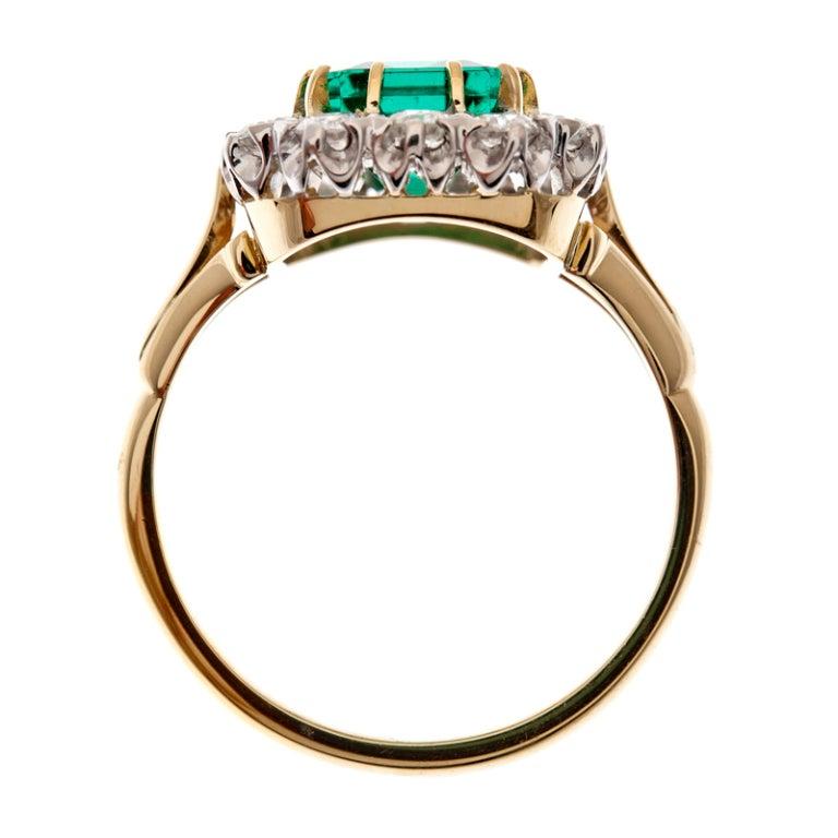 """Fine Emerald & Diamond """"Cluster"""" Ring 3"""