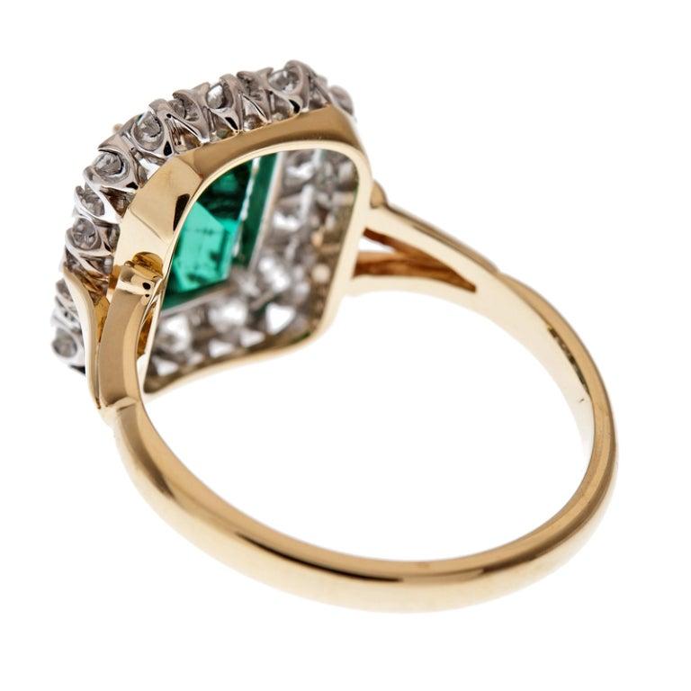 """Fine Emerald & Diamond """"Cluster"""" Ring 4"""