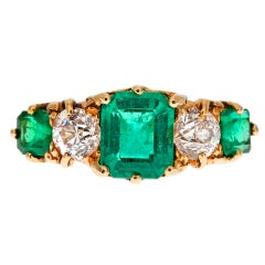 Antique English Emerald & Diamond Hand Carved Gold Ring