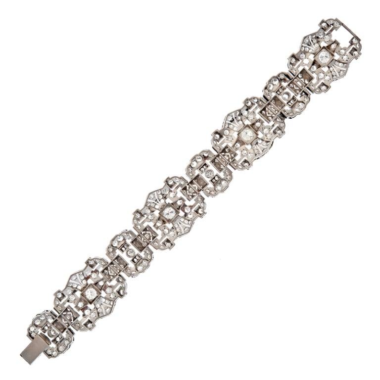Art Deco Impressive 1930's Diamond Platinum Panel Bracelet 3