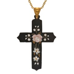 Antique Pietra Dura Yellow Gold Cross Pendant