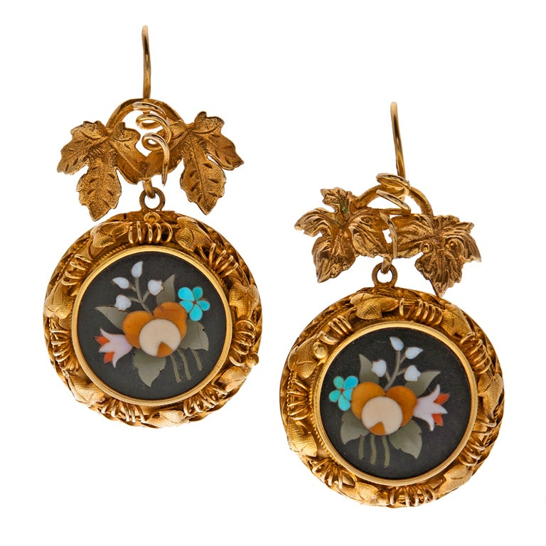 Antique Pietra Dura Yellow Gold Victorian Earrings For Sale