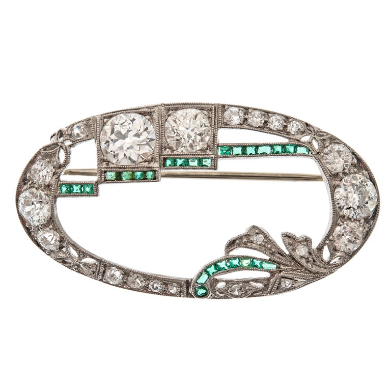 Art Deco Diamond Emerald Platinum Brooch