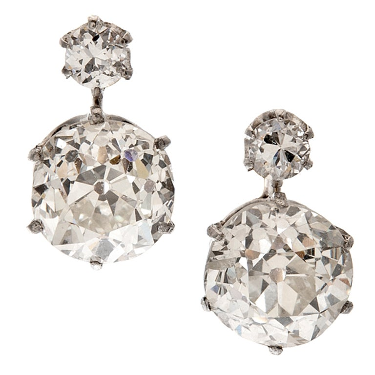 Old European Cut Double Diamond Drop Earrings For Sale