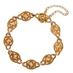 French Art Nouveau Diamond Yellow Gold Bracelet