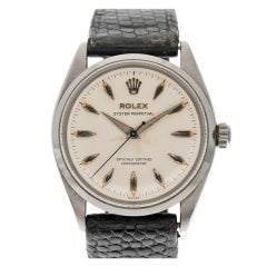 ROLEX Stainless Steel Oyster Perpetual Wristwatch with Original Leather Band circa 1950s