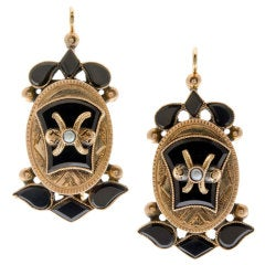 Victorian Onyx Seed Pearl & Yellow Gold Drop Earrings