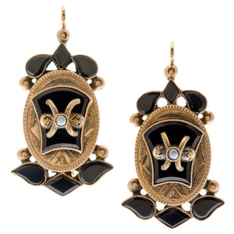 Victorian Onyx Seed Pearl & Yellow Gold Drop Earrings