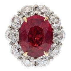 "Vivid Red 7.27ct ""No Heat""  Mozambique Ruby & Diamond Ring"