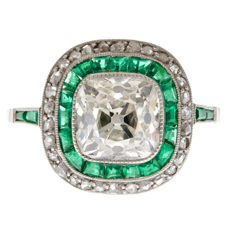 2 45 carat Old Cushion Cut Diamond and Emerald Platinum Ring at 1stdibs