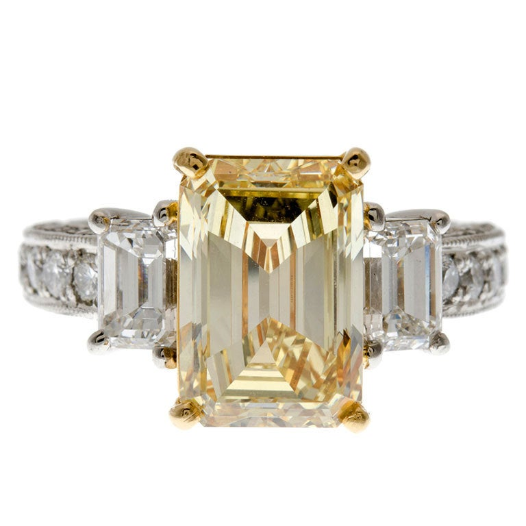 4 03 Natural Fancy Yellow Diamond 3 Stone Engagement Ring at 1stdibs