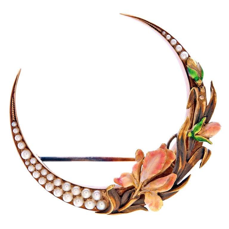 Spectacular Art Nouveau Enamel Pearl Gold Flower Brooch