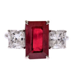 Emerald Cut Ruby & Square Cut White Diamond Three-Stone Ring