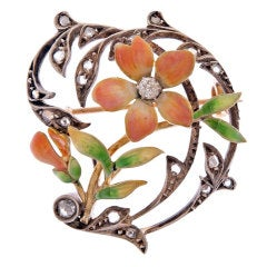 Art Nouveau Diamond Enamel Yellow Gold/Silver Brooch