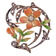 Art Nouveau Enamel Diamond Silver Gold Brooch