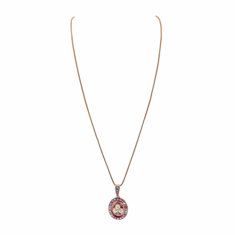 """Vintage Americana"" Victorian Rose Gold Pendant with Gemstones 4"
