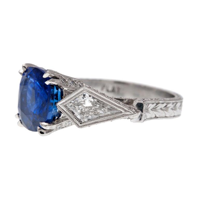 Cushion Cut Sapphire Trillion Cut Diamond Platinum Ring 2