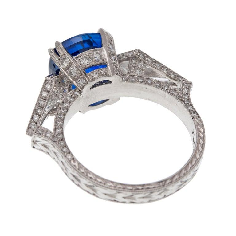 Cushion Cut Sapphire Trillion Cut Diamond Platinum Ring 3