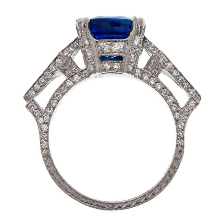 Cushion Cut Sapphire Trillion Cut Diamond Platinum Ring 4