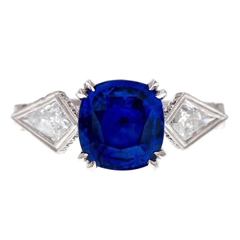 Cushion Cut Sapphire Trillion Cut Diamond Platinum Ring 1