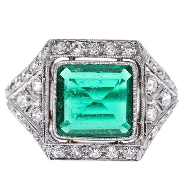original deco emerald platinum ring