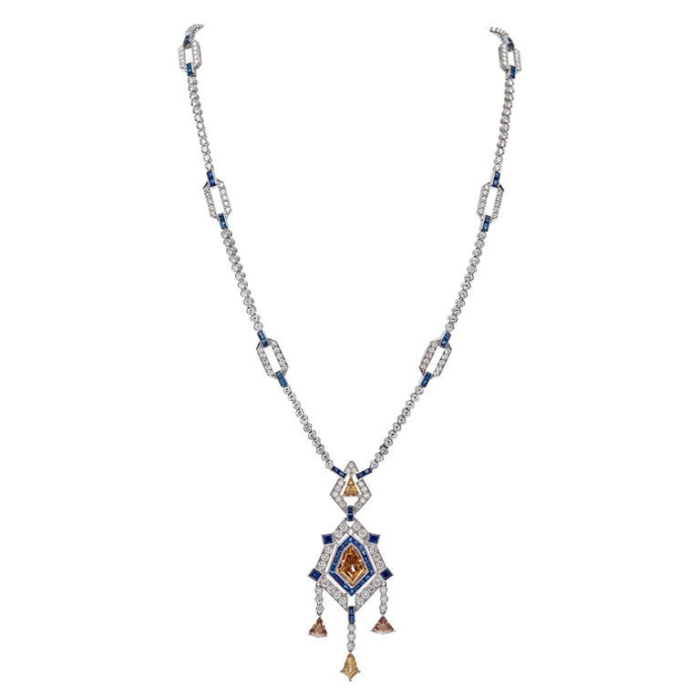 Art Deco Sapphire Champagne Diamond Platinum Necklace