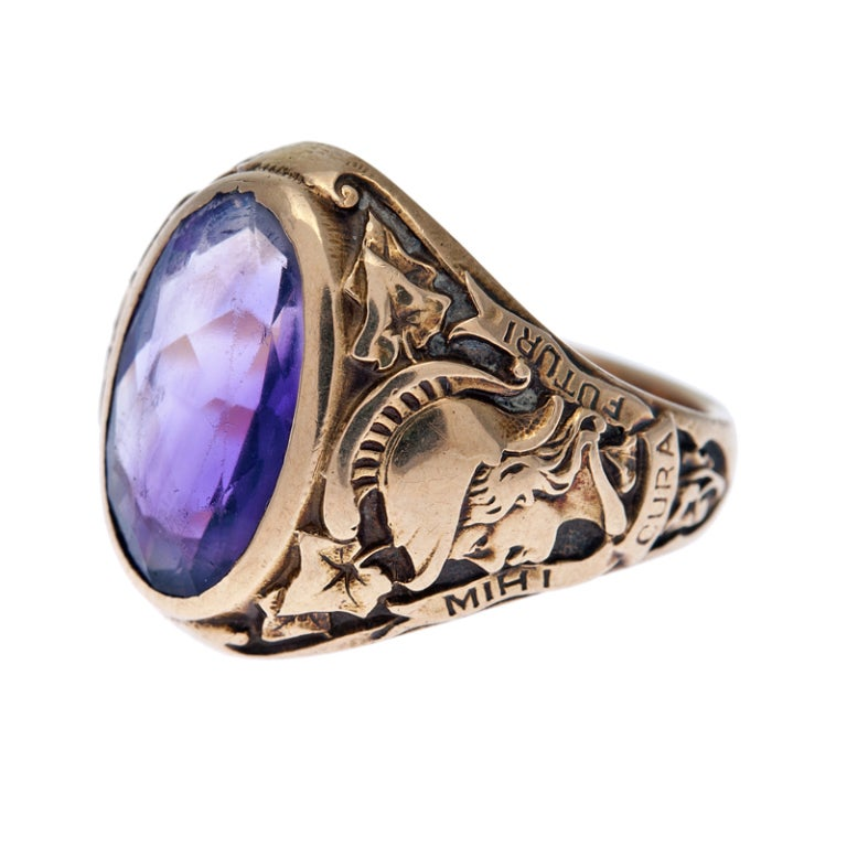 Tiffany And Co Hunter College Class Ring With Amethyst