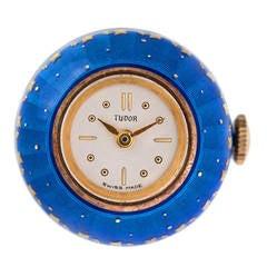 Tudor Sterling Silver Blue Enamel Ball watch, 1930s