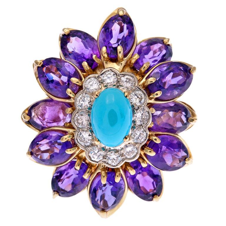 Turquoise Amethyst Diamond Gold Flower Ring