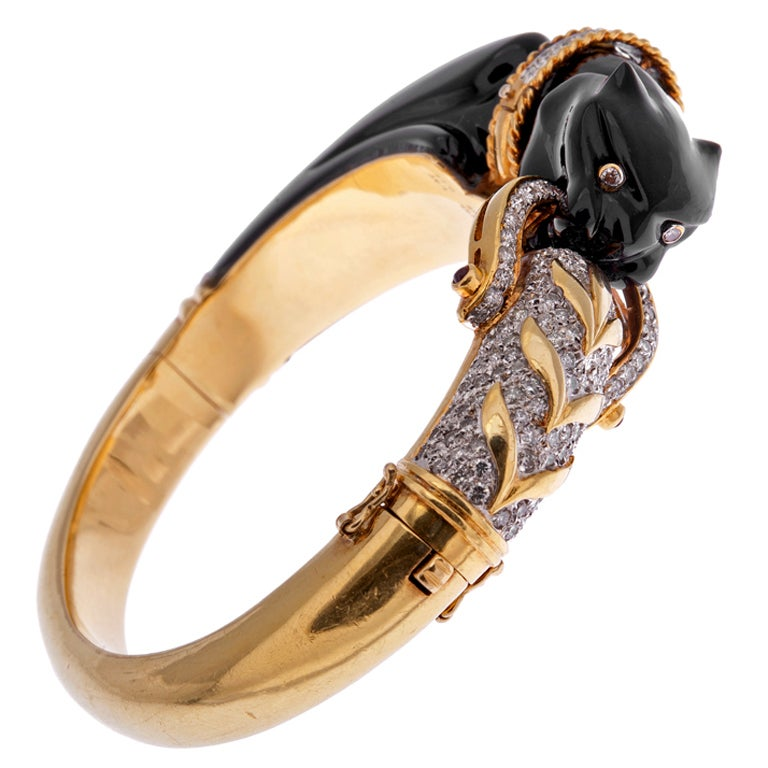 Onyx And Diamond Gold Panther Bracelet At 1stdibs