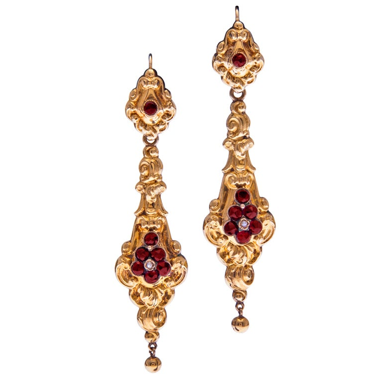 """Early Victorian Gold """"Day To Night"""" Garnet Earrings"""