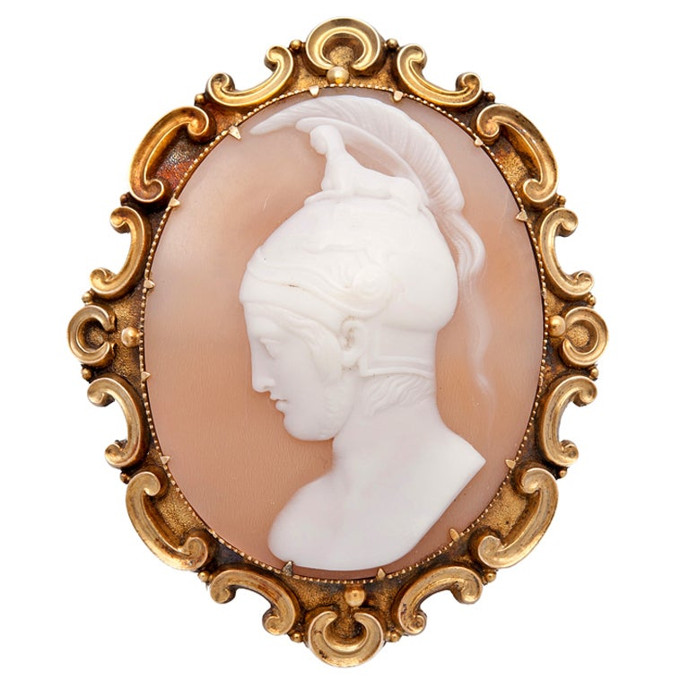 Victorian Gold Cameo Shell Brooch