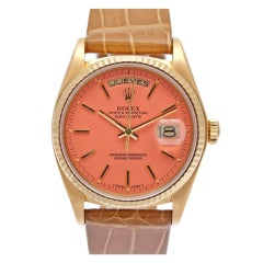 """ROLEX Yellow Gold Pink """"Stella"""" Dial Day-Date Wristwatch with Spanish Day Display"""