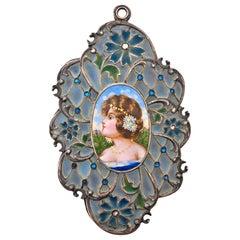 Large Art Piece French Victorian Plique a Jour Enamel Locket